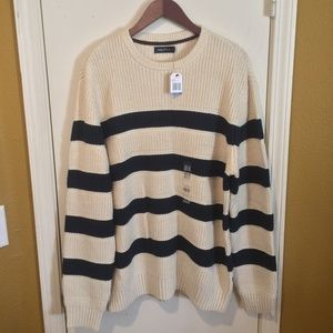 Nautica mens XL soft cotton navy striped sweater